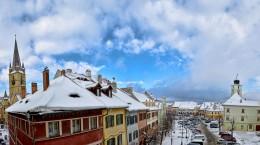 sibiu biserica evanghelica piata mica zapada ninsoare (Copy)