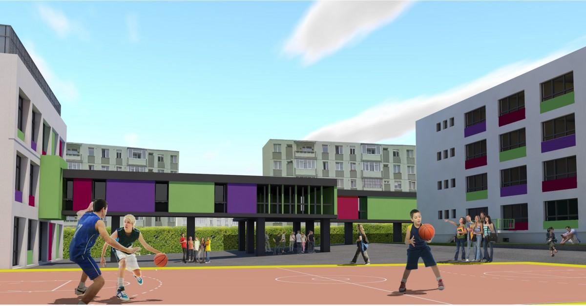 Cele două corpuri ale liceului vor fi conectate. Sursa foto: Primăria Sibiu