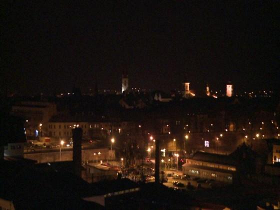 panorama sibiu iluminat public noaptea