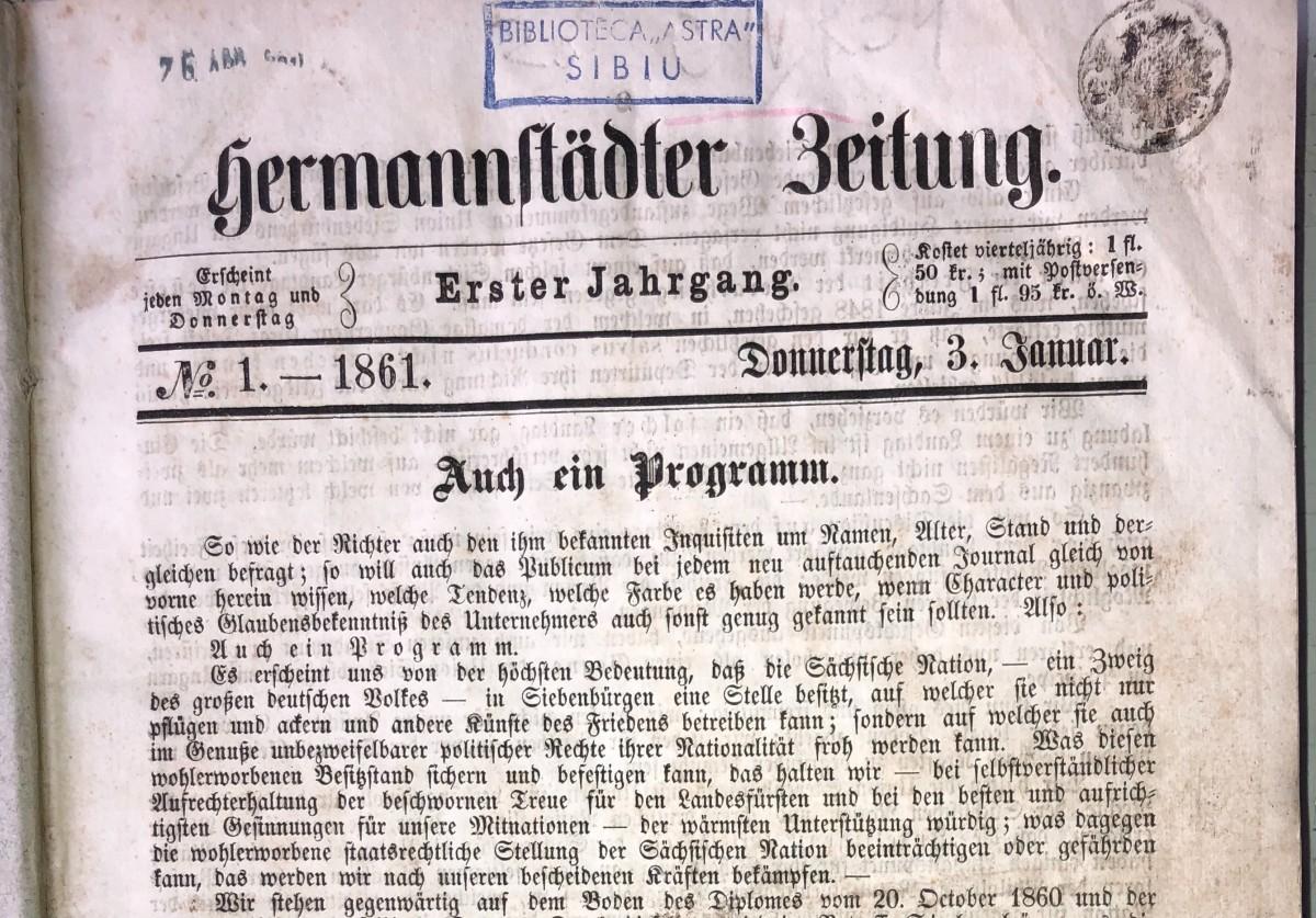 Primul număr al Hermannstädter Zeitung