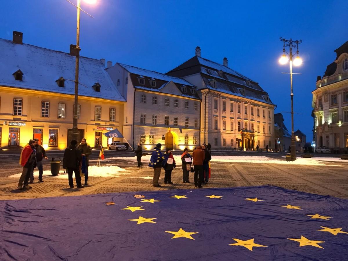 protest piata mare steag UE (1)