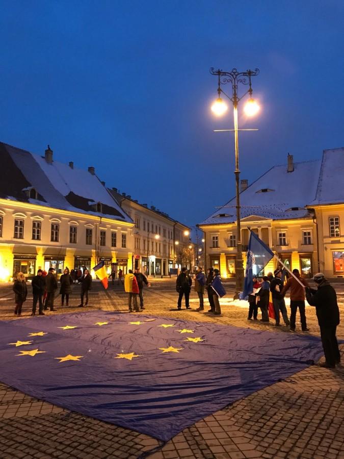 protest piata mare steag UE (3)