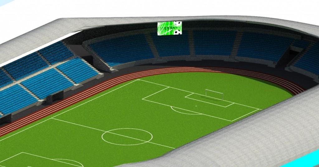 Simulare a stadionului după finalizarea tuturor lucrărilor. Sursa: Studiul de fezabilitate