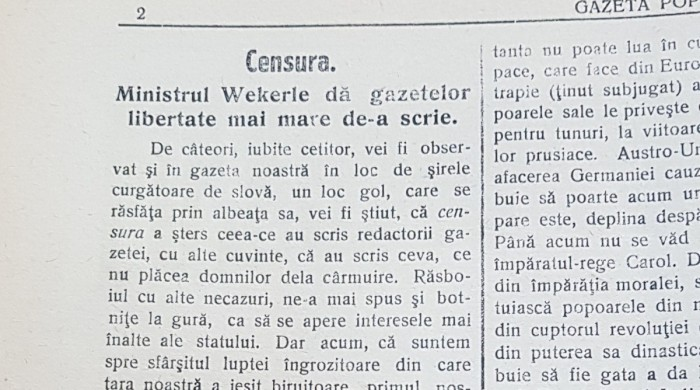 gazeta poporului despre cenzura