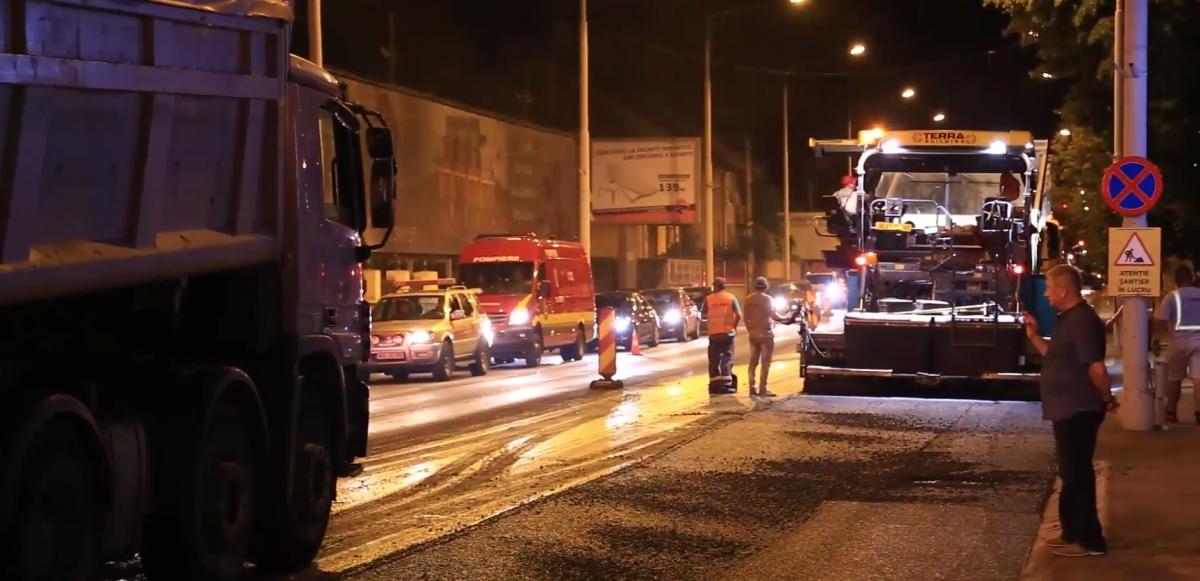 lucrari strazi asfaltare noaptea milea