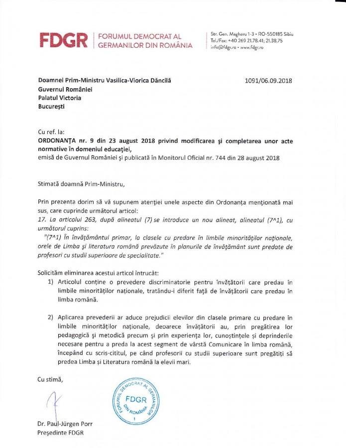 scrisoare fdgr
