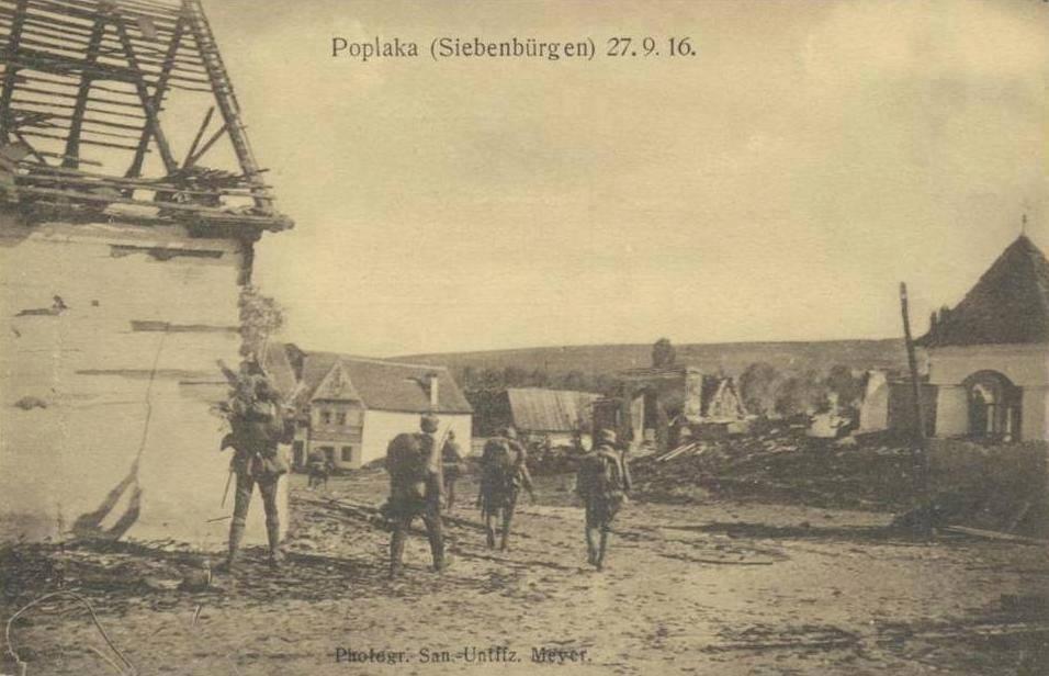 Satul Poplaca, în urma bătăliei de la Sibiu, din 1916, a fost distrus aproape în totalitate