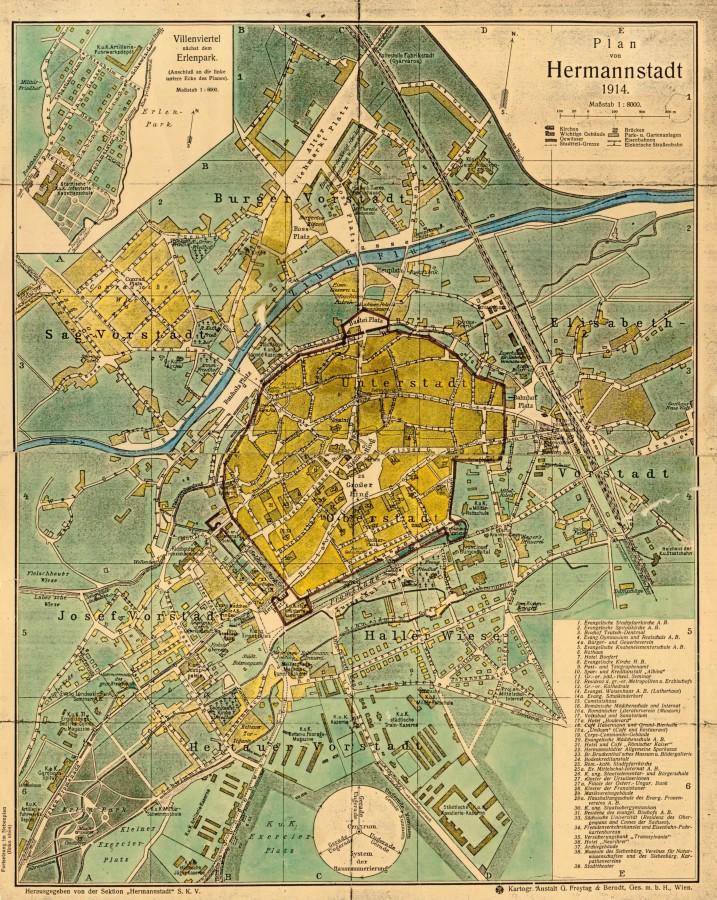 Harta Sibiului din 1914