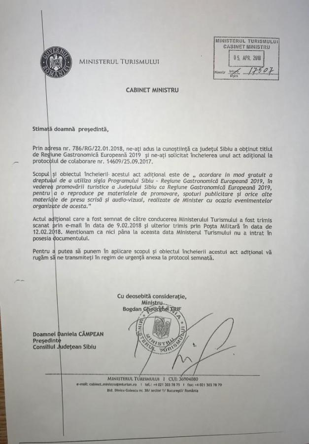 Adresa prin care Ministerul cere originalul semnat al actului adițional