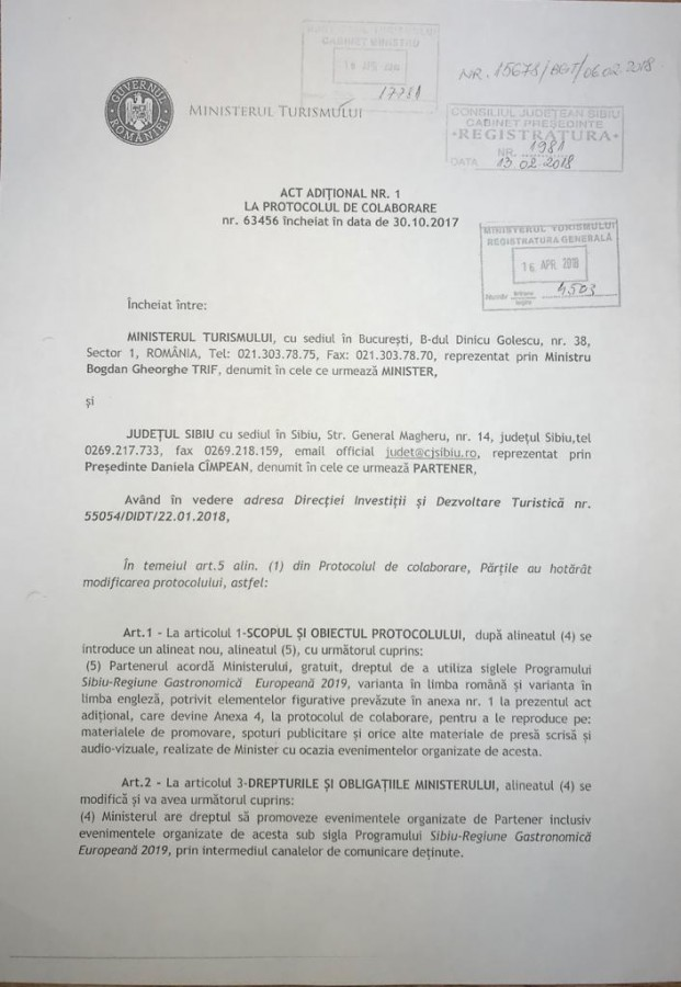 Prima pagină a actului adițional semnat între CJ Sibiu și Ministerul Turismului