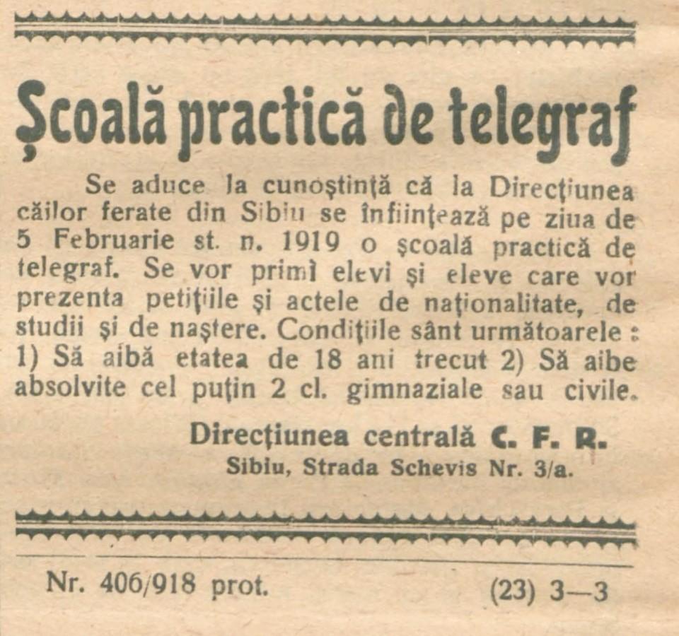 scoala de telegraf februarie