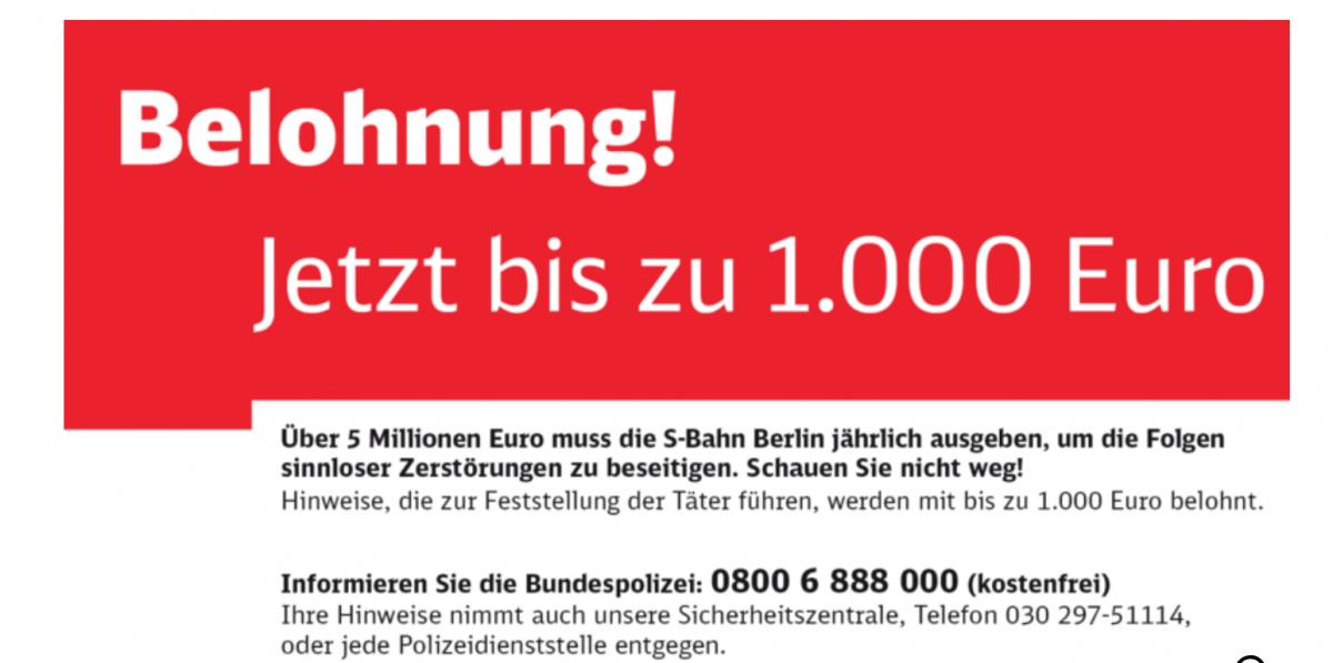 În mijloacele de transport din Germania, afișele îndeamnă călătorii să îi reclame pe vandali