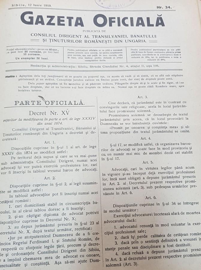Gazeta oficială de la Sibiu publica toate deciziile Consiliului Dirigent