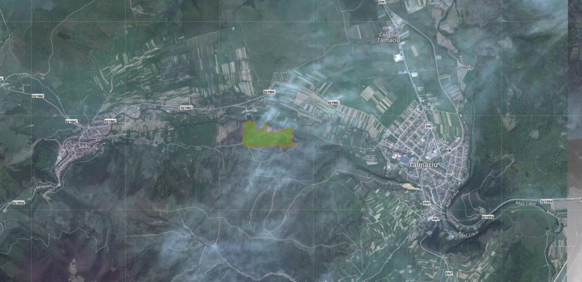 Amplasarea ariei protejate Șuvana Sașilor. Foto: ProtectedPlanet.net