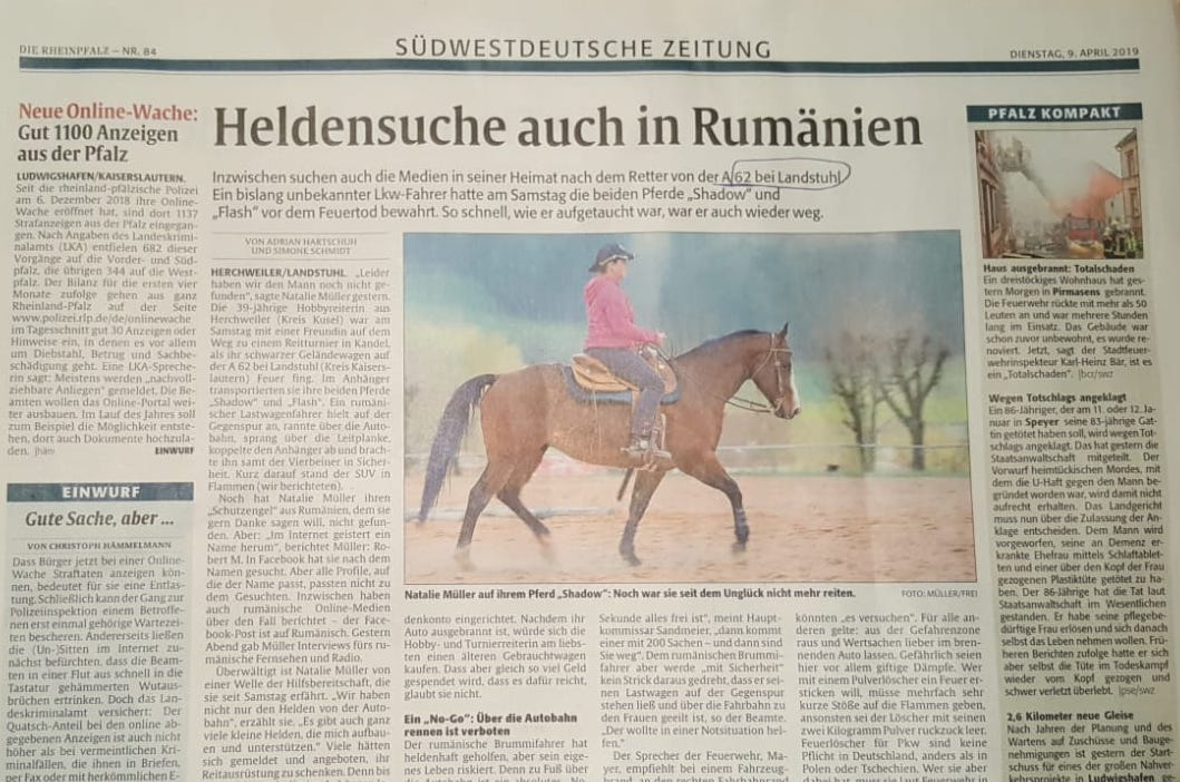 Articol publicat în ziarul regional Die Rheinpfalz