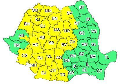Codul galben de ploi va fi instituit pe majoritatea teritoriului țării