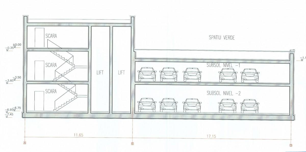Pentru prima parcare subterană a Sibiului, accesul pietonilor în subteran se cere a fi făcut atât pe scări, cât și cu liftul. Sursa foto: documentație Primăria Sibiu