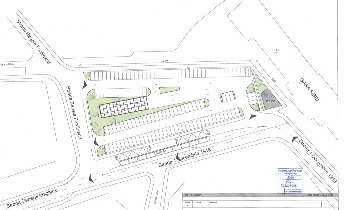 În Piața Gării vor fi amenajate locuri de parcare atât la subsol, cât și la suprafață. Sursa foto: documentație Primăria Sibiu