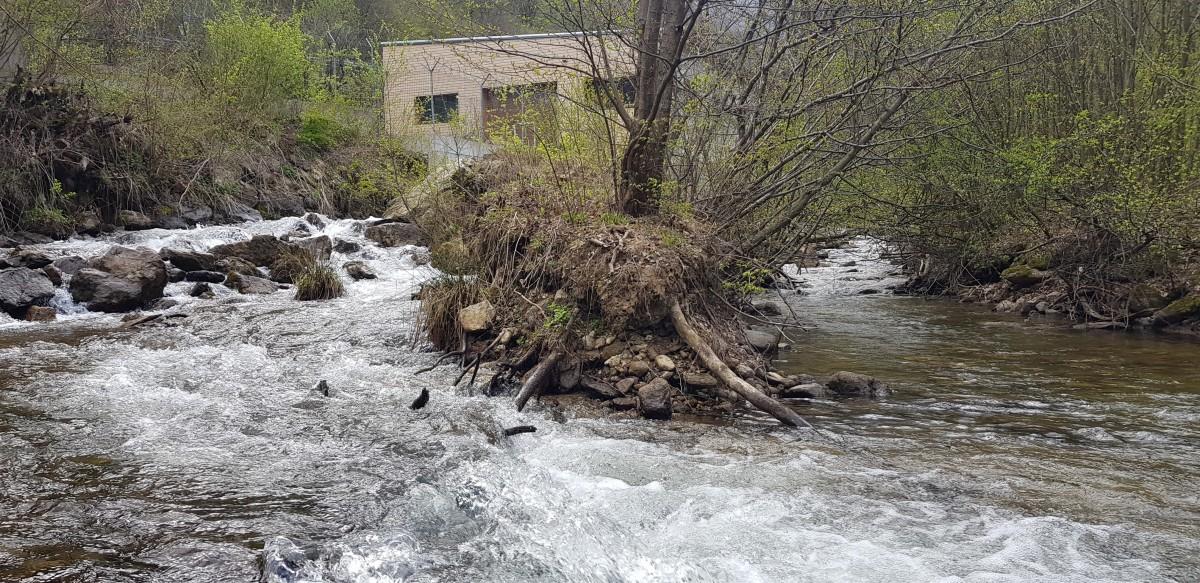 Râul Mare. În stânga e apa care revine în râu după hidrocentrală