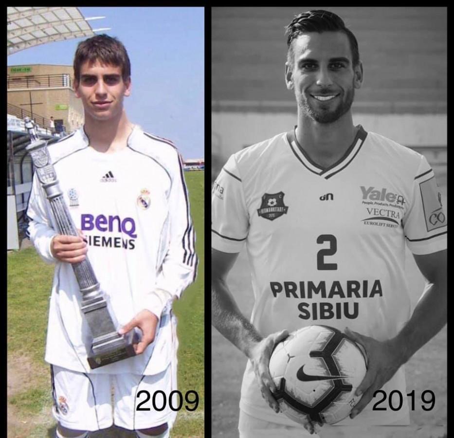 Biel Company în 2009 și în 2019, de la Real Madrid la FC Hermannstadt (foto: pagina personală de facebook)