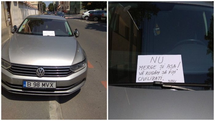 mesaj in geamul unei masini