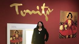 Andra Tonitza într-o expoziție din Târgul Mureș dedicată stăbunicului ei.