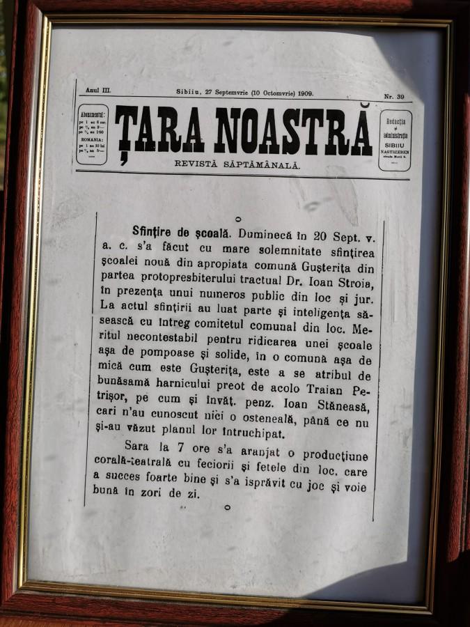 revista tara noastra despre scoala din gusterita 1909