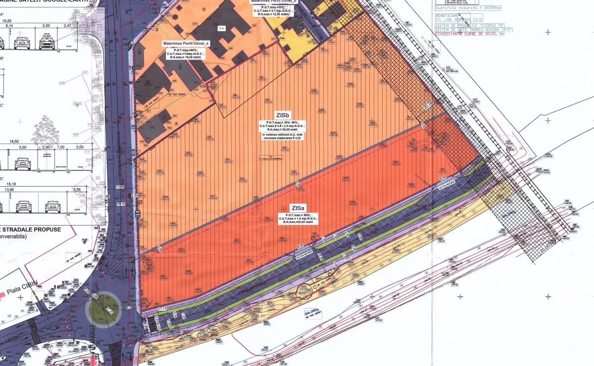 Accesul în viitorul centru comercial se va realiza din viitoarea prelungire a străzii Râului. Foto: planșa PUZCP