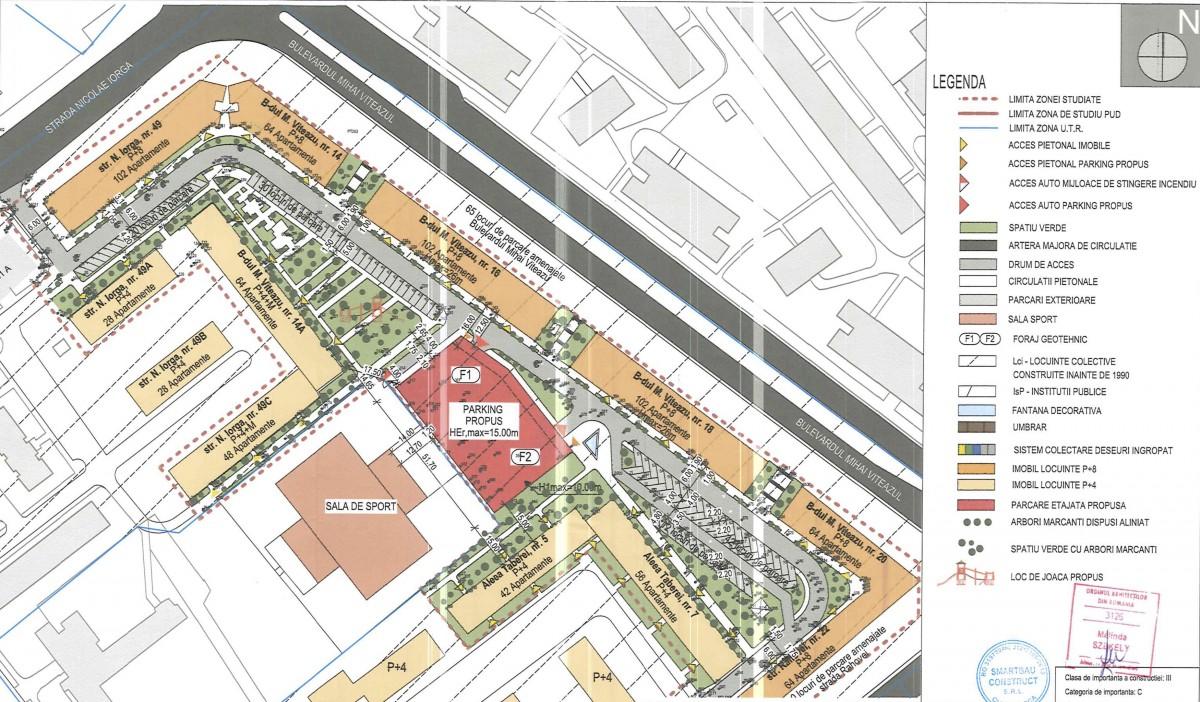 În zona în care va fi ridicată parcarea sunt aproximativ 500 de locuințe. Sursa foto: studiul de fezabilitate