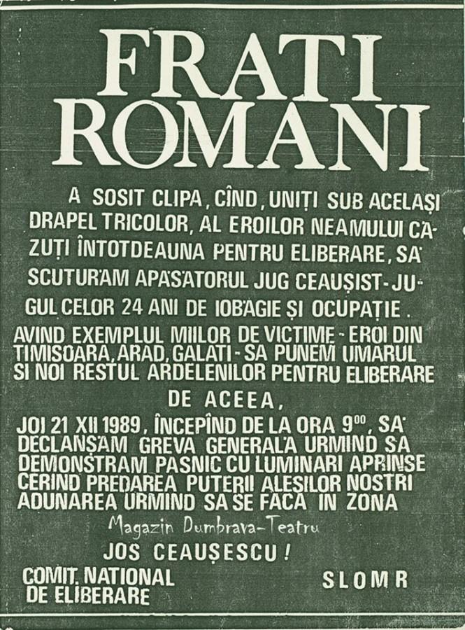 Primul manifest de la Sibiu împotriva regimului Ceaușist după evenimentele de la Timișoara a fost creat, tipărit și distribuit pe 18 decembrie 1989 de către Mircea Bozan