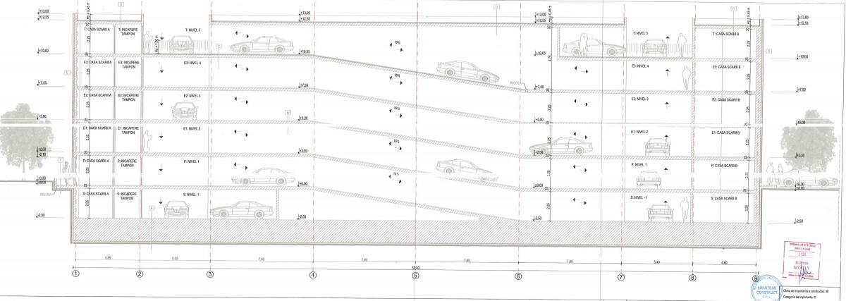 Viitoarea parcare va avea cinci niveluri. Sursa foto: Studiul de fezabilitate