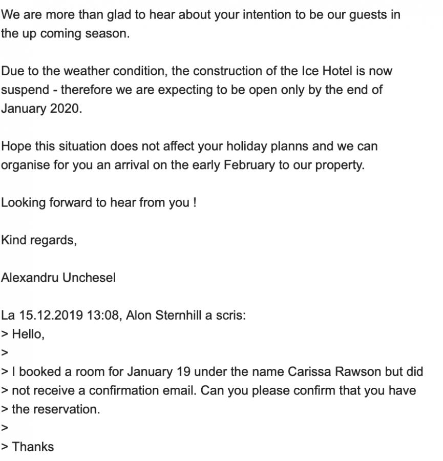 Conversația via e-mail privind rezervarea (Foto: The Points Guy)