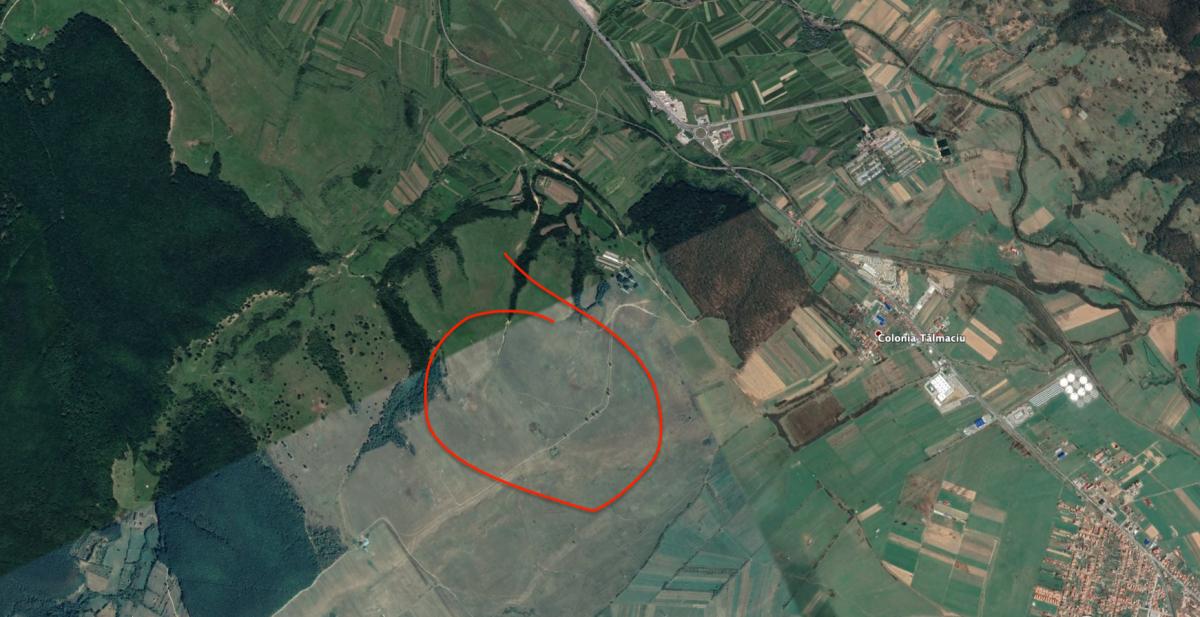 Terenul vizat de CJ Sibiu este în apropierea sensului giratoriu de la Veștem. Sursa foto: Google Earth