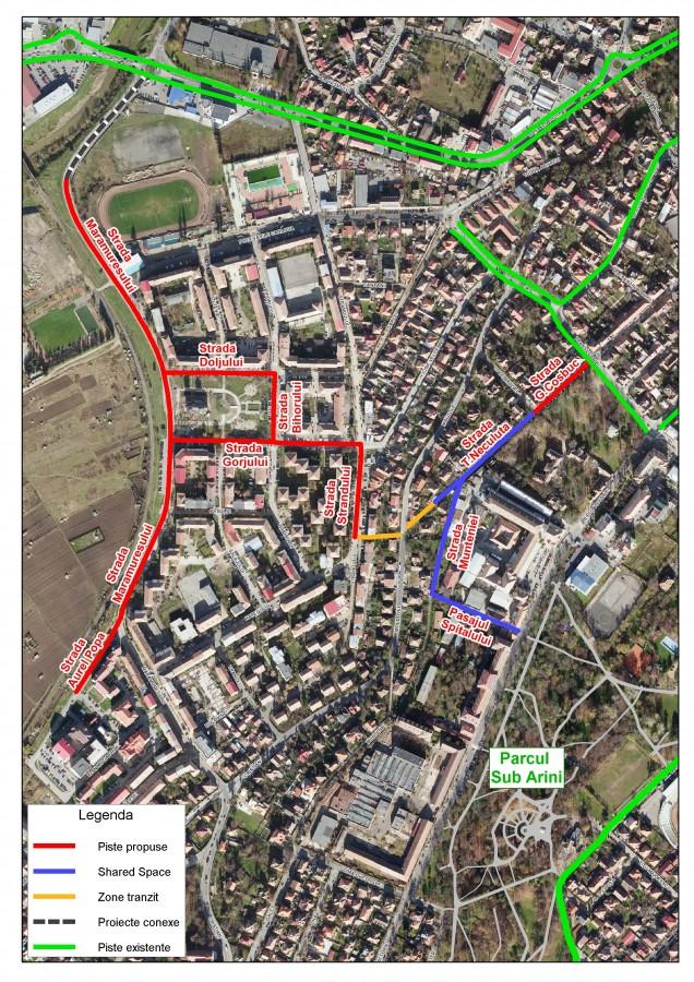 coridor biciclete Ștrand - parc Sub Arini