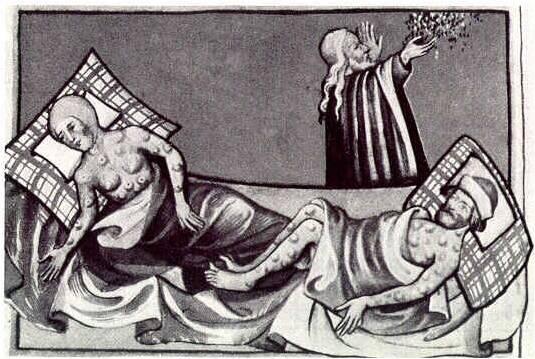 Cuplu bolnav ce ciumă bubonică, cleric rugându-se sau medic ținând în mână ierburi de leac (sec. XVI)