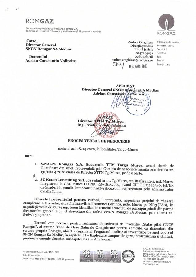 Procesul verbal de negociere a fost semnat și de directorul general al Romgaz, Adrian Volintiru
