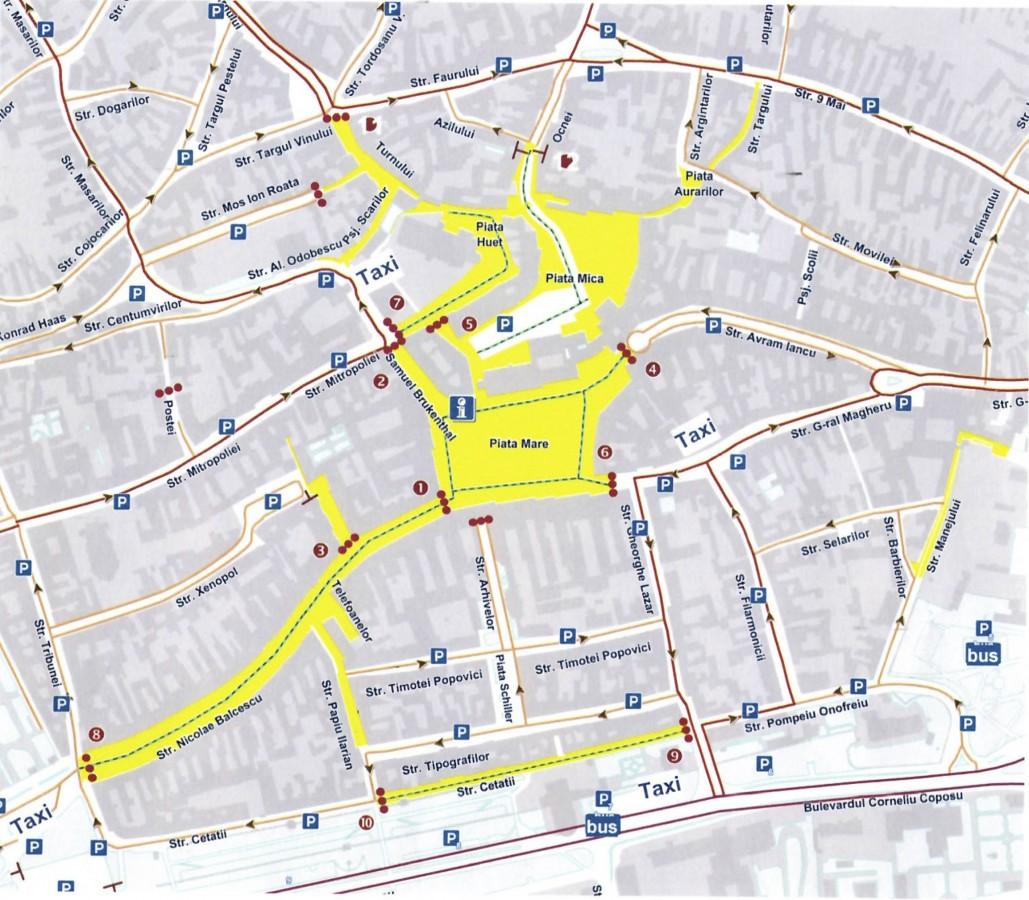 Zonele pietonale din centrul istoric al Sibiului. Sursa foto: proiect de hotărâre al Consiliului local Sibiu