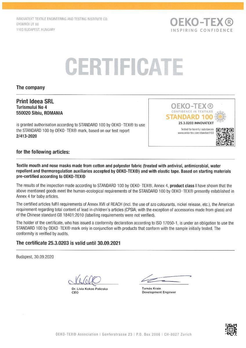 printcenter.ro, compania românească ce produce măști de protecție cu proprietăți antivirale și antibacteriene a primit certificările de eficiență