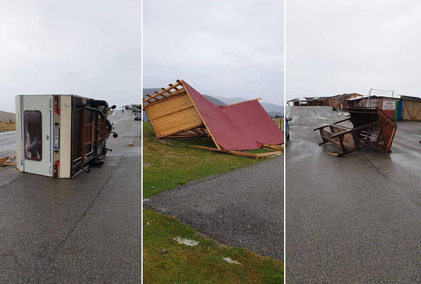 VIDEO. Vânt extrem de puternic, pe Transalpina: au fost răsturnate inclusiv rulote