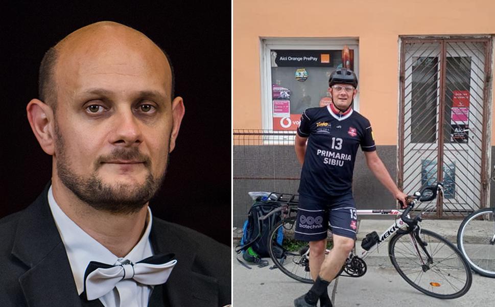 Antonio Andrei Mihail, muzicianul care străbate sute de km cu bicicleta pentru a susține pe FC Hermannstadt