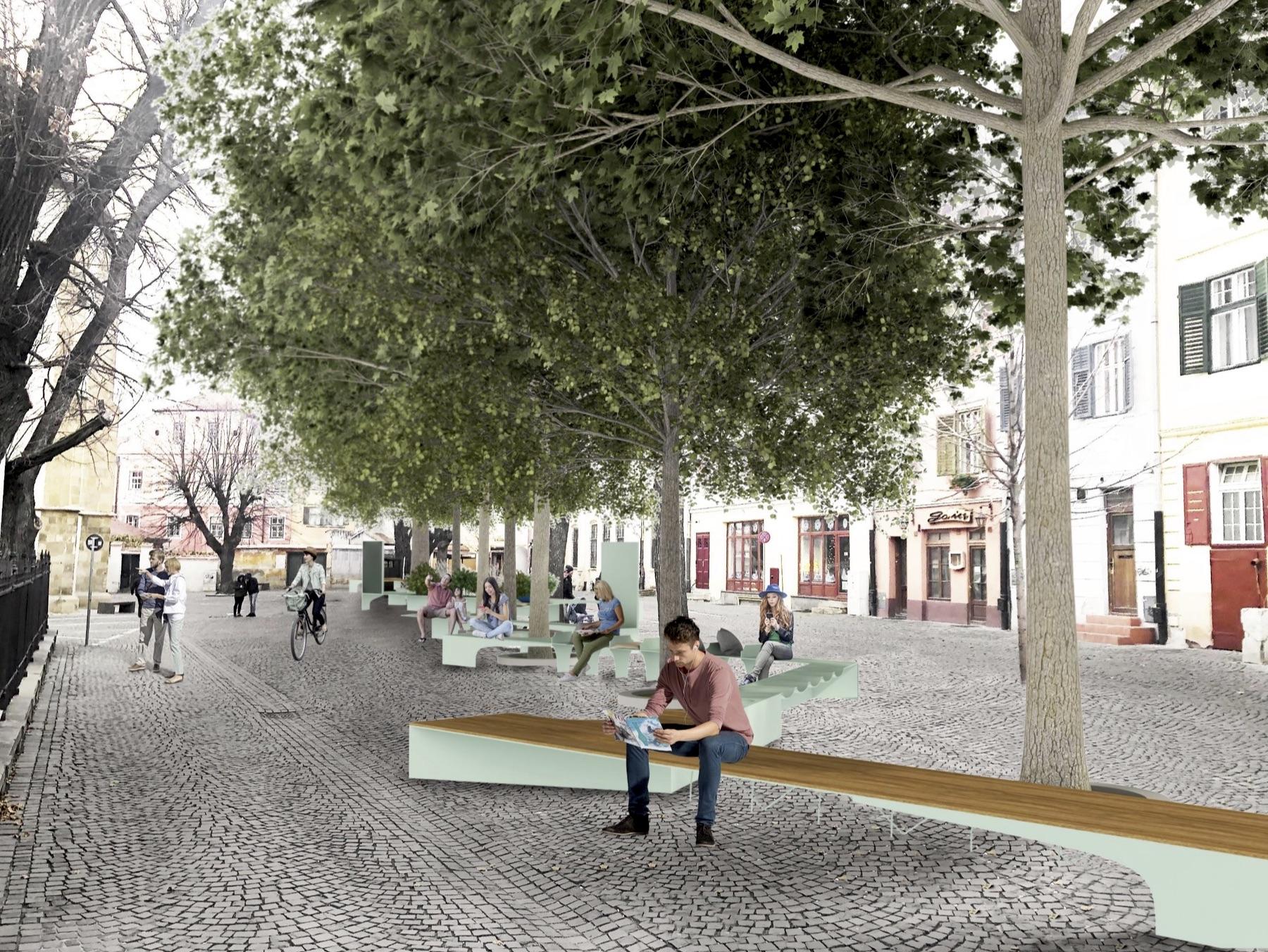 """FOTO Piața Huet primește mobilier urban. """"Nu bănci de parcuri și grădini, cumpărate de la supermarketuri"""""""