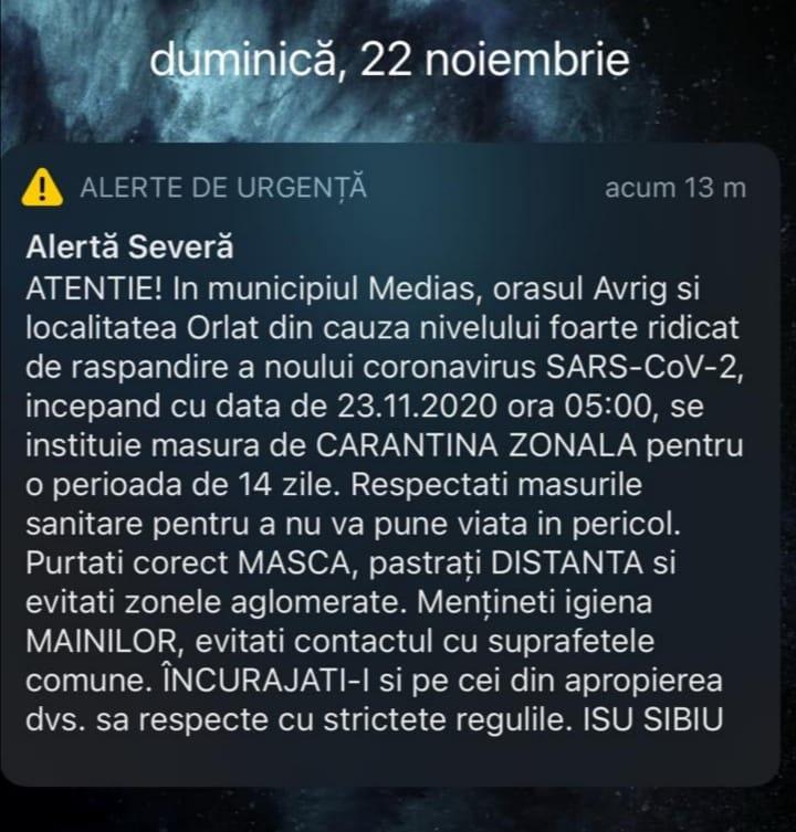 ISU: Mesaj de avertizare RO-ALERT pentru Mediaș, Avrig și Orlat