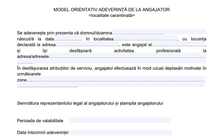 Modelul de adeverință de la angajator și cea de tranzitare a localităților în carantină, publicate de Prefectură