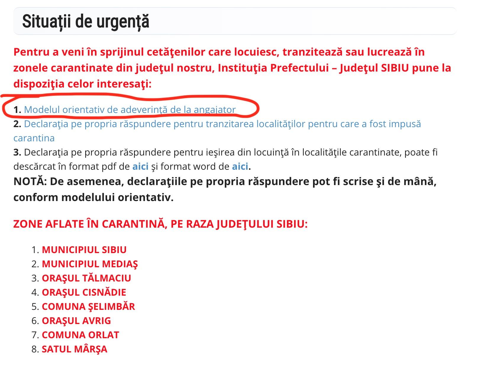 """Modelul de declarație al Prefecturii Sibiu este greșit. """"E doar orientativ și se adaptează"""""""