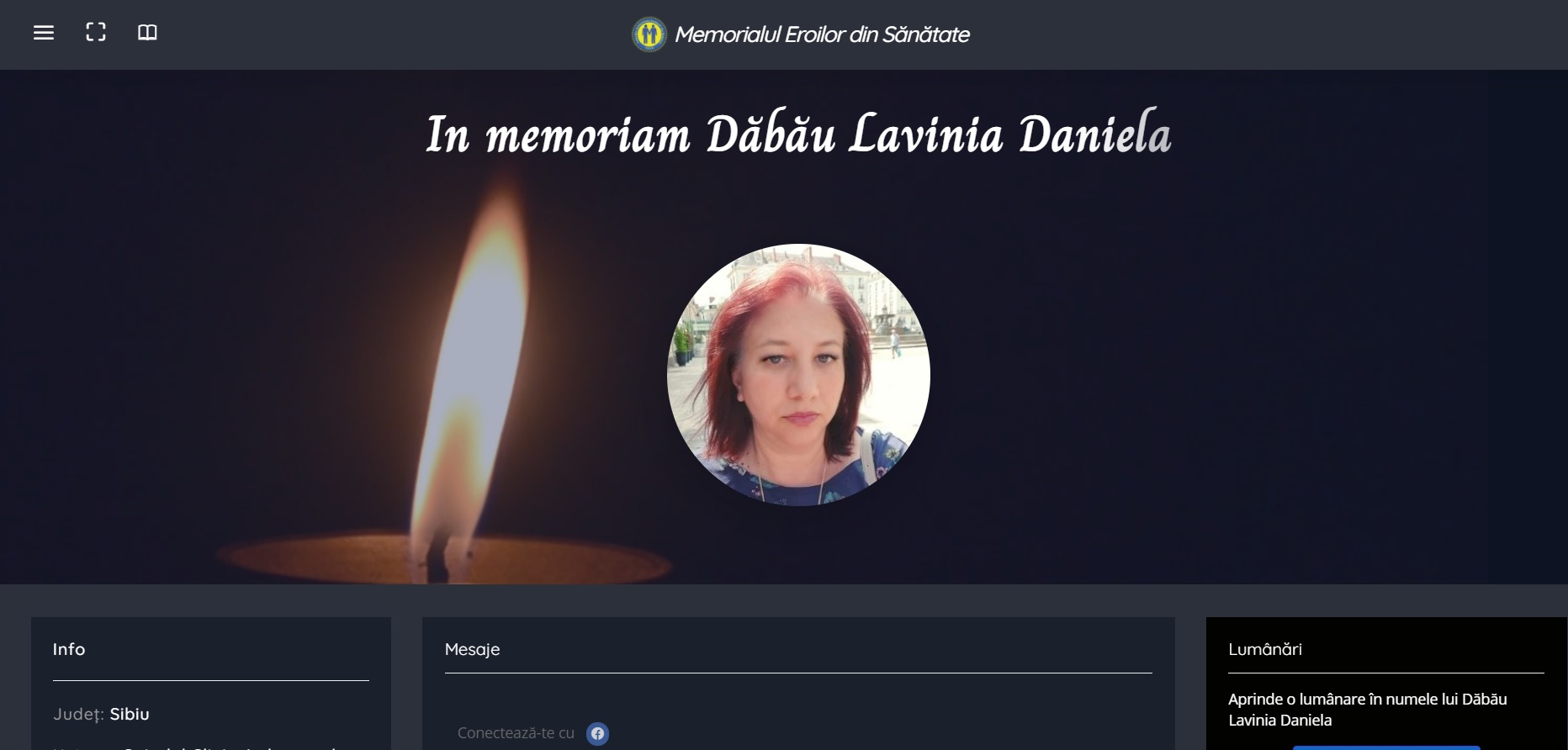 Asistenta din Sibiu, decedată în iunie de covid, inclusă în Memorialul Eroilor din Sănătate realizat de Federația Solidaritatea