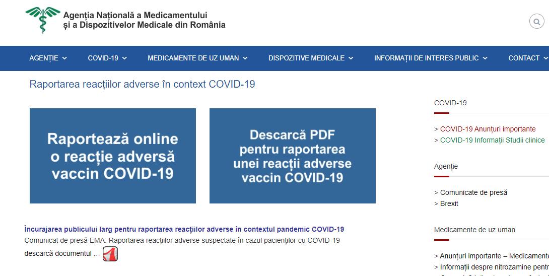 Platforma pentru raportarea reacţiilor adverse după vaccinarea anti-Covid este funcţională