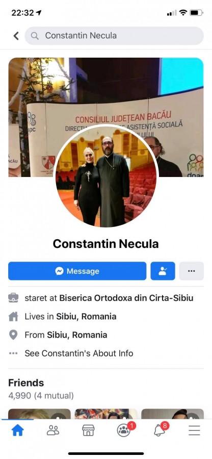 """Escrocherie pe Facebook, folosind numele părintelui Necula. """"A făcut 27 de conturi false!"""""""