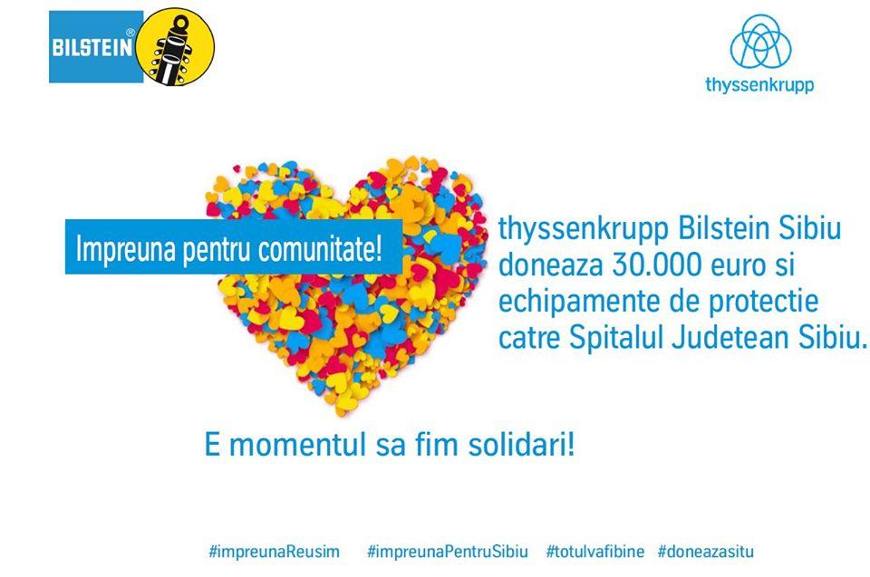 Companiathyssenkrupp Bilstein Sibiu donează 30.000 de euro pentru Spitalul Județean