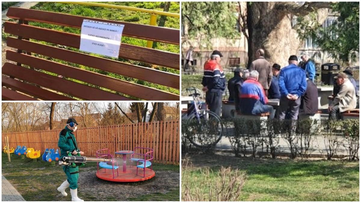 Cisnădie: statul pe bănci, restricționat. Șelimbăr: dezinfecții în spații publice. Sibiu: vârstnici, la table în parc