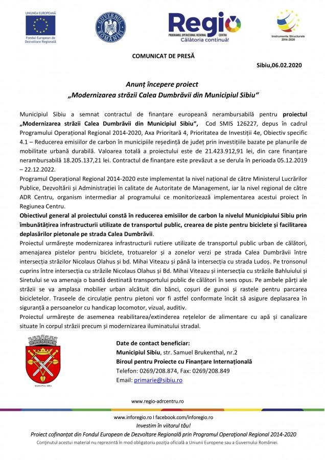 """Anunț începere proiect """"Modernizarea străzii Calea Dumbrăvii din Municipiul Sibiu"""""""
